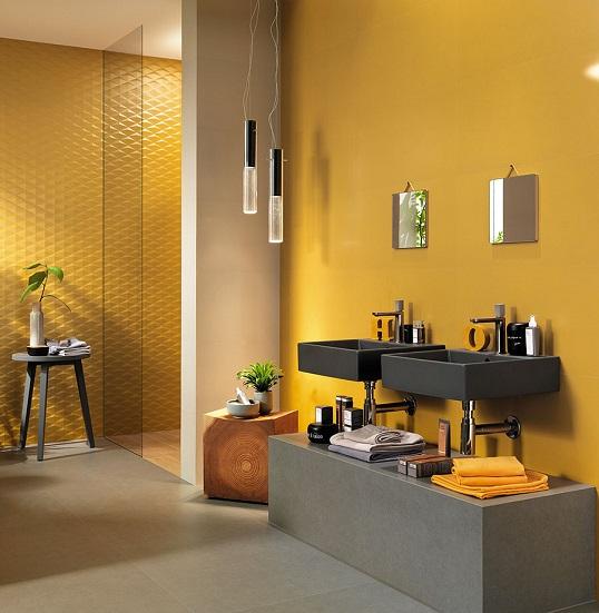 Новая современная плитка желтого цвета для ванной, Италия