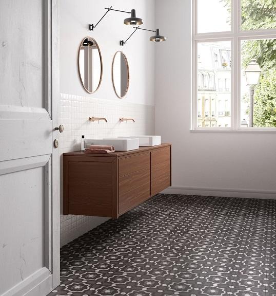 Черно-белая плитка небольшого размера для ванной, Италия