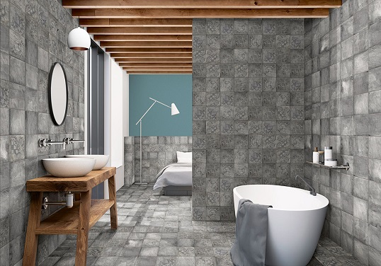 Испанская серая плитка для ванной, 20х20 см