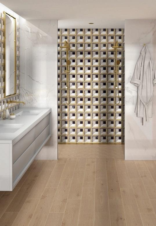Новая коллекция плитки для ванной под мрамор с 3D дизайном