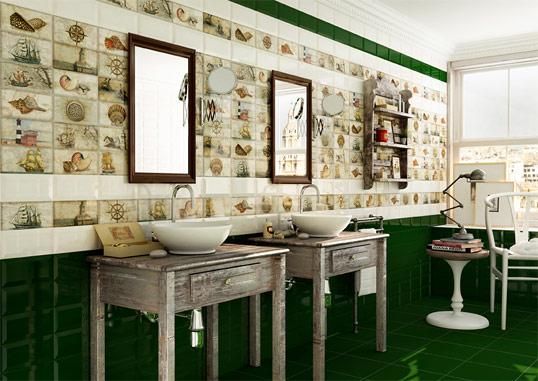 Темно-зеленая плитка для ванной