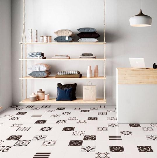 Элитная черно-белая напольная плитка пэчворк, Италия