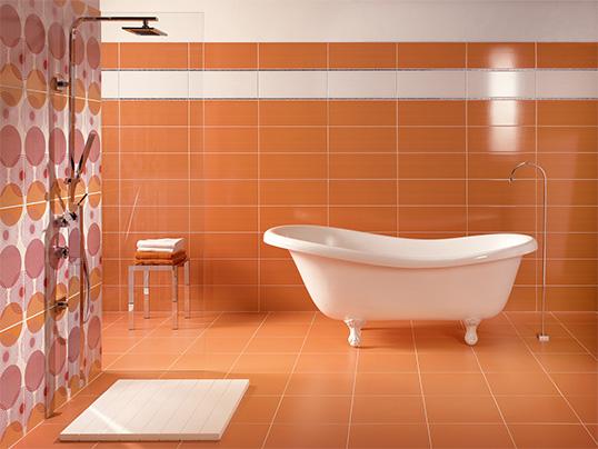 Глянцевая оранжевая плитка для ванной комнаты