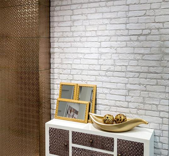 Декоративная белая плитка под кирпич