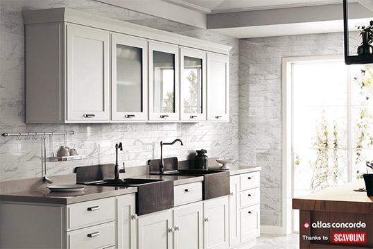 Плитка под белый мрамор для кухни