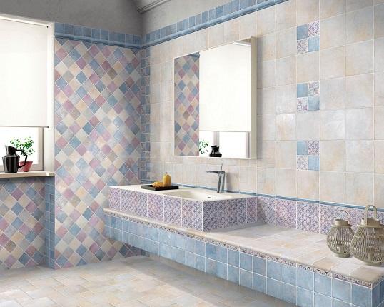 Итальянская плитка 10х10 см для классической ванной