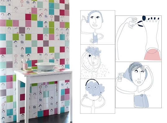 Дизайнерская плитка для ванной 10х10 см