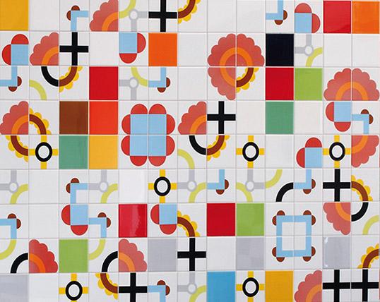 Настенная плитка пэчворк с геометрическим рисунком