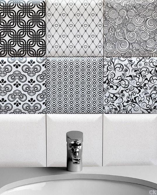 Черно-белая керамическая плитка для стен 15х15 см