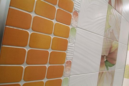 Оранжевая плитка 20х20 см для ванной в форме мозаики, распродажа!