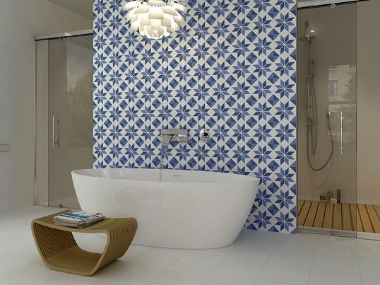 Керамическая плитка для ванной с яркими принтами 20х20 см
