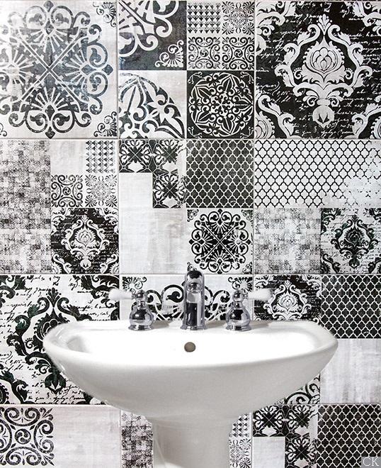Черно-белая плитка с этрусскими узорами, новинка 2016