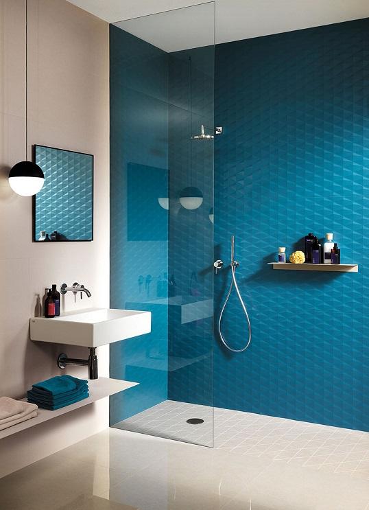 Бесшовная трехмерная синяя плитка большого размера для стен