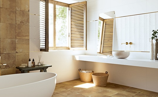 Керамогранит для ванной комнаты по обожженную глину