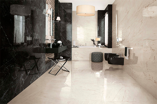 Плитка под мрамор для ванной комнаты большого размера