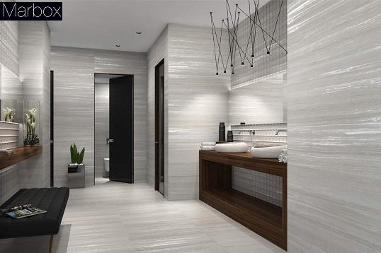 Плитка для ванной с имитацией травертина серебристого цвета