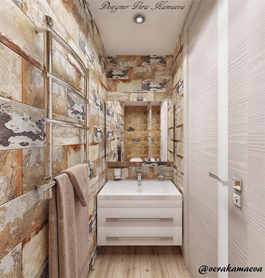 Плитка под облупившийся кирпич для маленькой ванной комнаты