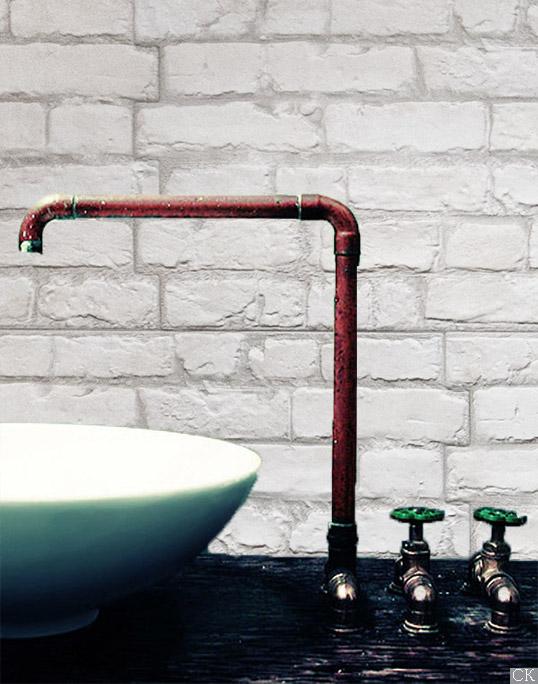 Плитка под белый кирпич для ванной в стиле лофт