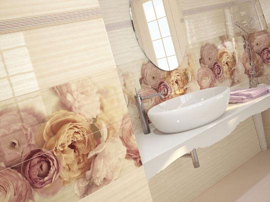 Испанская плитка для ванной с цветами