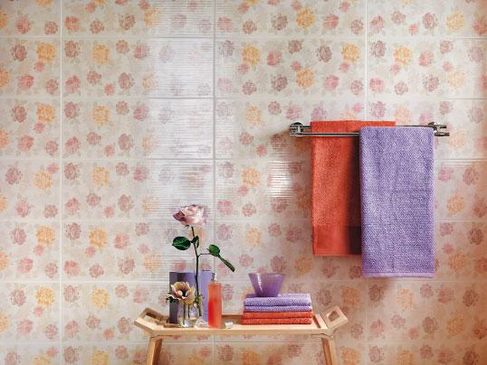 Керамическая плитка с розами для ванной