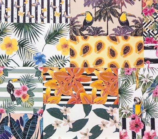 Плитка для ванной с экзотическими цветами и туканами