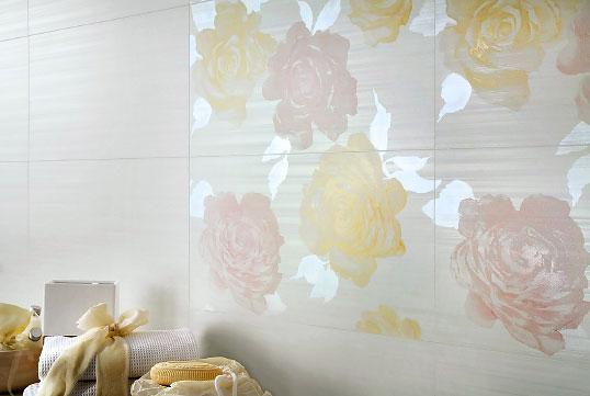 Плитка с розами для ванной комнаты