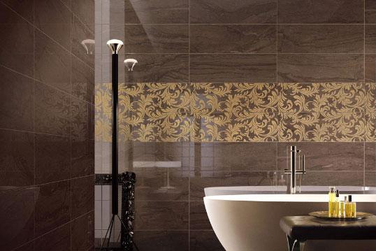 Плитка для ванной с узором листья
