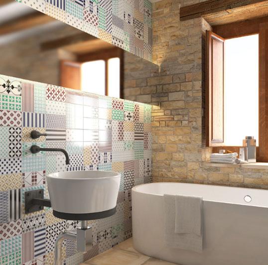 Плитка под кирпич с рисунком пэчворк - для элегантной ванной loft