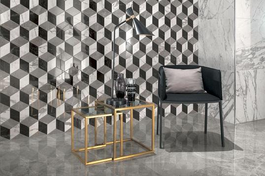 Черно-белая плитка под мрамор с оптическим эффектом кубы