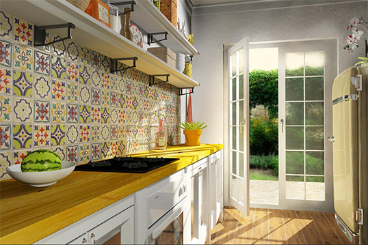 Плитка пэчворк для фартука кухни