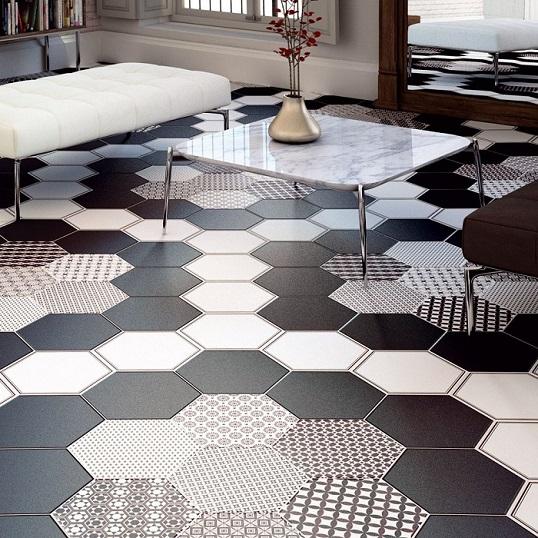 Черно-белая плитка пэчворк шестиугольной формы