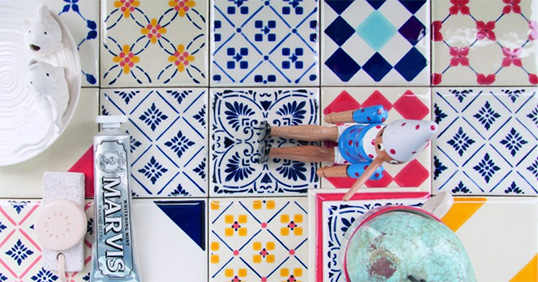 Разноцветная плитка пэчворк для кухни и ванной