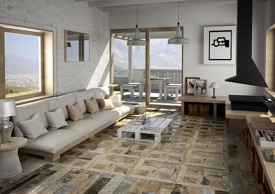 Плитка под покрашенное дерево со средиземноморским дизайном