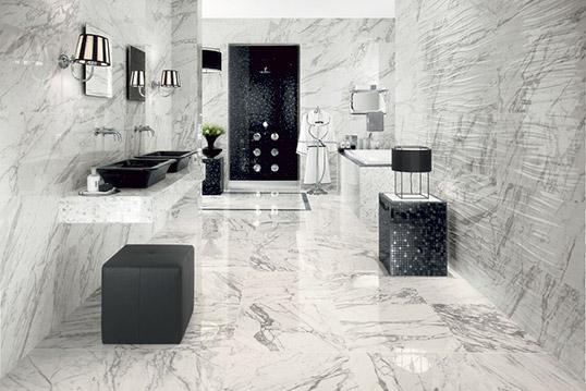 Плитка под белый мрамор для ванной комнаты
