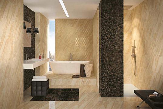 Плитка под бежевый мрамор для ванной комнаты