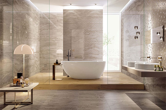 Плитка под серый камень для ванной