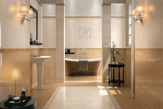 Плитка под камень для ванной комнаты в классическом стиле