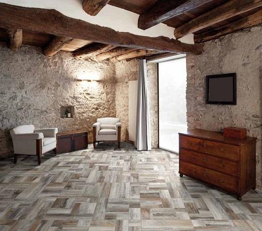 Плитка с имитацией деревянных напольных панелей