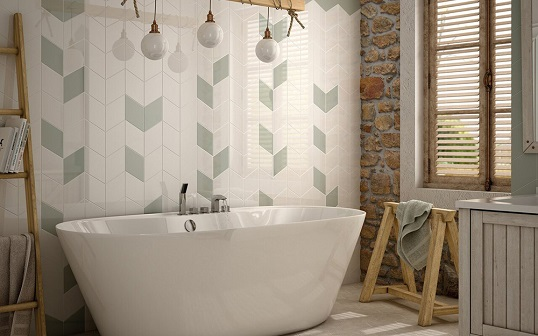 Плитка шеврон для пола и стен ванной