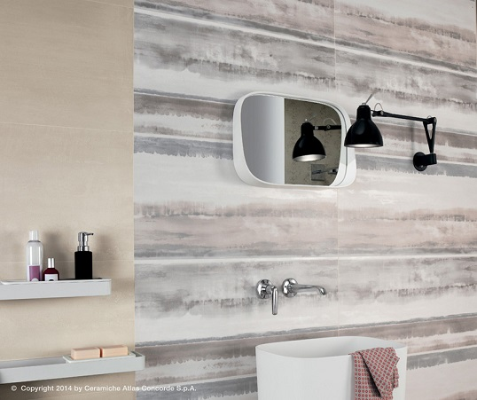 Плитка с имитацией штукатурки для ванной в стиле лофт