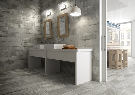 Керамогранит для ванной под бетонные блоки