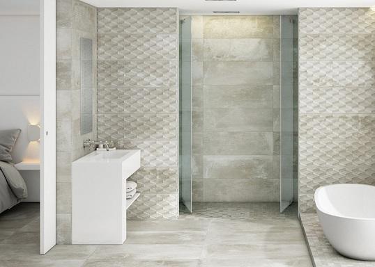 Плитка под бетон для ванной комнаты в индустриальном стиле