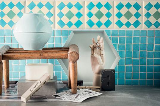Лазурная плитка для кухни в стиле прованс