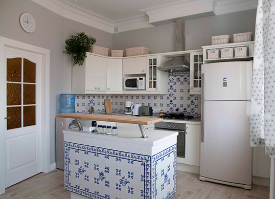 Бело-синяя плитка для кухни в стиле прованс