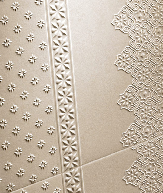 Плитка в восточном стиле c фактурным орнаментом под камень