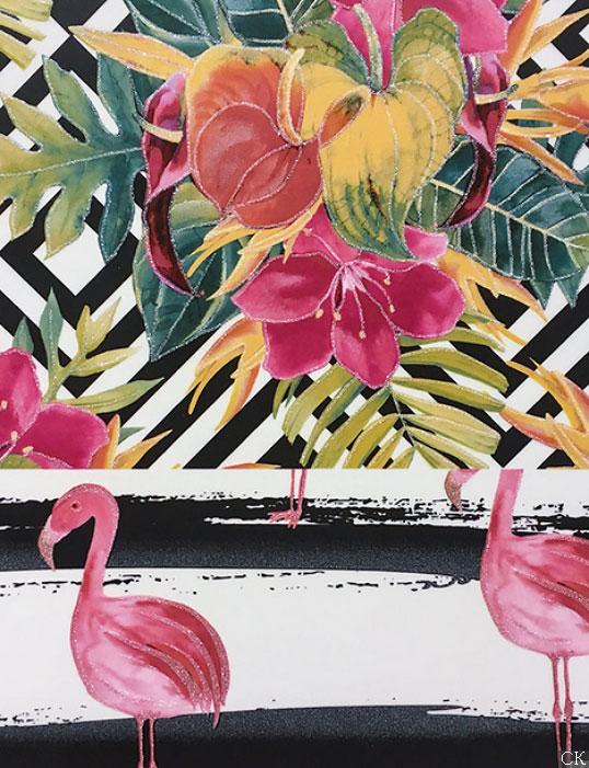 Плитка большого размера с попугаями и фламинго