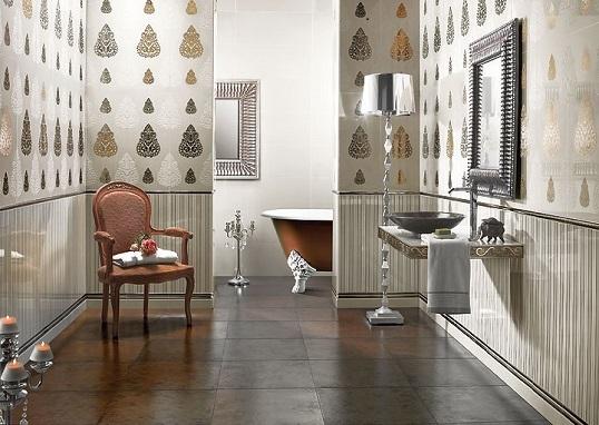 Белая плитка для стен ванной и кухни, декорированная платиной