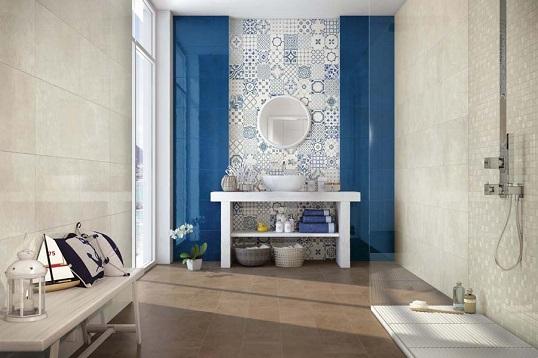 Бело-голубая плитка для скандинавского интерьера