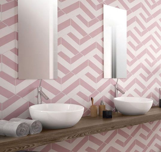 Розовая шестиугольная плитка для пола и стен