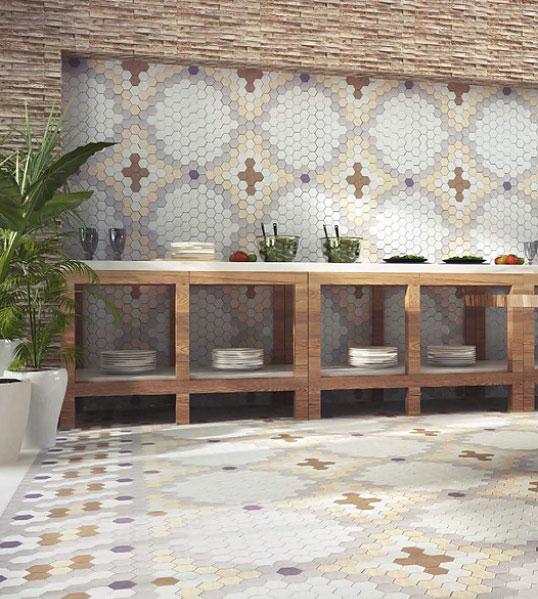 Шестиугольная плитка для кухни прованс